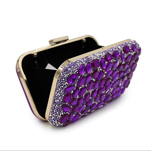 Clutches Purse Clutch Evening Rhinestone Cocktail Women Party Crossbody for Stunning Purple Handbag NBWE Bags qatwS1