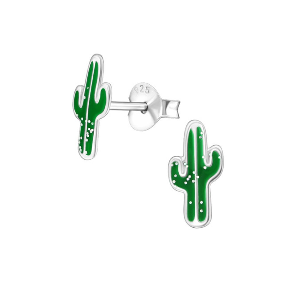 Girls Cactus Colorful Ear Studs 925 Sterling Silver