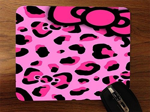 Pink Cheetah Pattern with Bow Desktop Office Silicone Mouse Pad