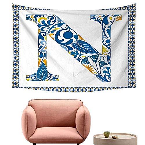 Agoza Room Tapestry Letter N Floral Design in Vintage Alphabet Font Design N in Azulejo Inspired Frame Literary Small Fresh 71