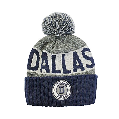 Football City Pom Beanie Premium Embroidered Patch Winter Soft Thick Beanie Skully Hat (Dallas)