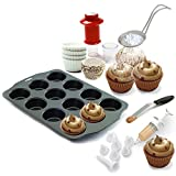 Kitchen Gems Cupcake Baking and Decorating Fun Gift Set Kit - Includes 12 Cup Nonstick Cupcake Pan and Offset Cupcake Spatula with Other Essential Items for Baking and Decorating Cupcakes