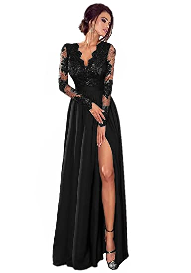 Promworld Womens V Neck Slit Formal Prom Gown Lace Long Sleeve