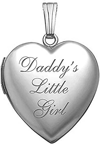 Daddys Little Girl Heart Locket Necklace Engraving Pendant Pictures Photo Girl