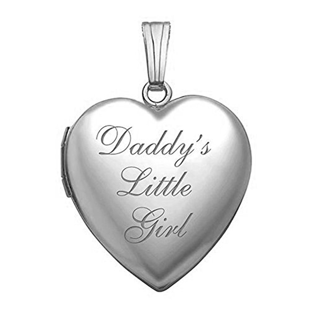 PicturesOnGold.com Sterling Silver 'Daddy's Little Girl' Heart Locket Pendant Necklace - 3/4 Inch X 3/4 Inch WITH ENGRAVING
