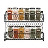 WENZHE Kitchen Storage Rack Spice Cooker Shelf Wall Mounted Seasoning Condiment Sort Out Display Stand Iron Art Black, 2 Layers, 32x7x26cm (Color : Black, Size : 32x7x26cm)