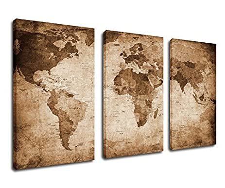 Amazon canvas wall art world map painting canvas prints canvas wall art world map painting canvas prints framed ready to hang 3 pieces 30quot gumiabroncs Images