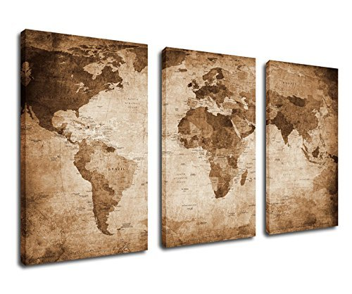 Canvas Wall Art World Map Painting Canvas Prints Framed Ready to Hang - 20