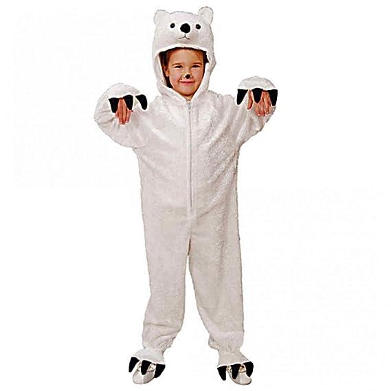 Disfraz de oso polar, el tamaño 116/128, mono animales ajuste blanco carnaval de los niños