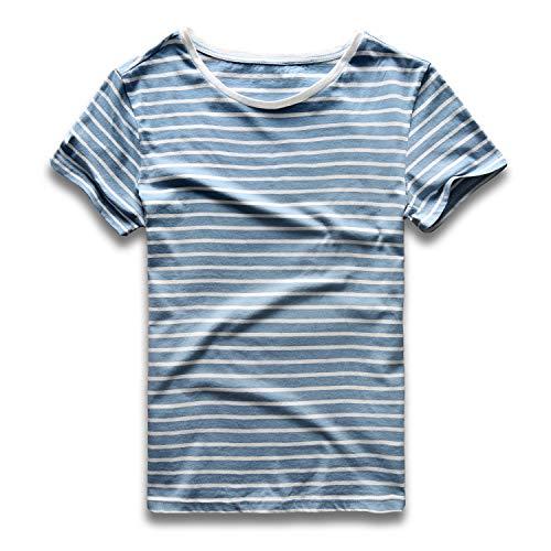 Zecmos Striped T Shirt for Men Crew Neck Slim Fit Stripe Tee Cotton Top 434-Blue White XL