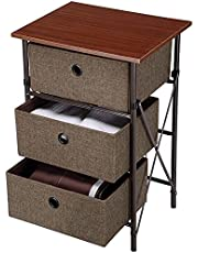 SortWise Dresser Storage Tower Iron Framed End Table Storage Shelf Organizer with 3 Removeable Bins Drawers