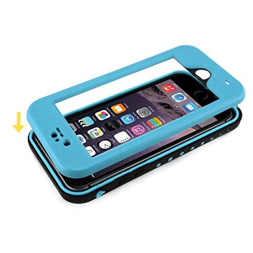 Alienwork Schutzhülle für iPhone 6 Plus/6s Plus geeignet für Fingerabdruck Hülle Case Bumper Wasserdicht Staubdicht Schneedicht Plastik hellblau AP6P11-05