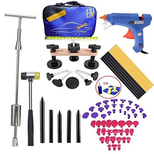 Price comparison product image VTOLO 56Pcs Dent Puller Kit WithGrip PRO Slide Hammer Dent Removal Pulling Tabs Hot Melt Glue Gun Pro Glue Sticks for Paintless Dent Repair Tools