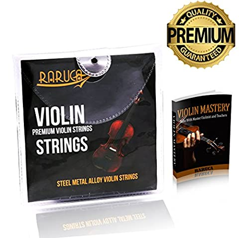 RARUCA - Violin Strings Set - Dominant Violin Strings - Ebook Violin mastery - Premium Quality Violin String Fit 4/4 or 3/4 Size With Steel Ball End. Warmest Tones & Unmatched (Violin Strings For 3 4)