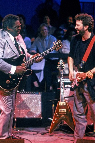 Eric Clapton B.B. King On Stage With Guitars Cool Image 24x36 Poster Silverscreen