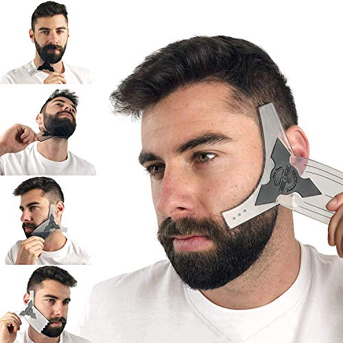 Beard Shaper Guide Template for Men's Care | All Size or Style 8 in 1 Multi-Liner Beard Shaping Tool for Barber's Touch Styling, line up, and Edging | Ideal for Facial Hair Trimmer, Razor, or Clippers -