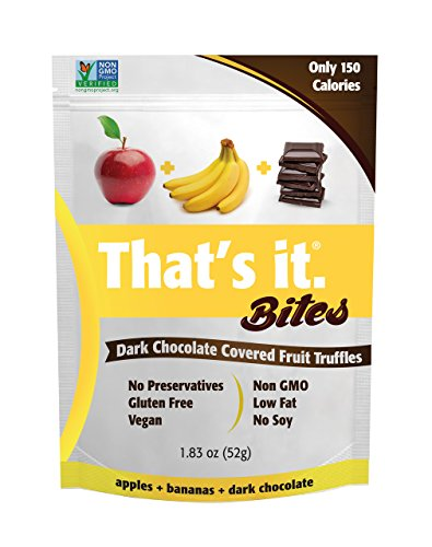 Apple + Banana That's It. Fruit Bites | Dark Chocolate Covered Fruit Truffles | 100% Natural Great Tasting Real Fruit | Vegan, Gluten Free, Paleo, Kosher, Non GMO, No Preservatives | 6 Pouches