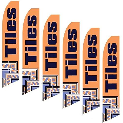 Six Swooper Flags Tiles Orange Black Mossaic 6