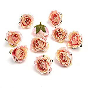 fake flower heads in Bulk Wholesale for Crafts Peony Flower Head Silk Artificial Flowers for Wedding Decoration DIY Party Festival Home Decorative Wreath Fake Flowers Decor 25 Pieces 4.5cm (Pink) 109