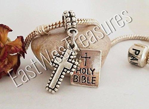 EWT Holy Bible Book of god, Cross, religious, faith, Christian, catholic Charm Pendant/fits all DIY charm bracelets & any chain necklace