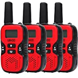 UOKOO UHF Handheld 22 Channel FRS/GMRS 2 Way Radio 2 miles (up to 3.7 Miles) for Kids, 4 Pack - Red