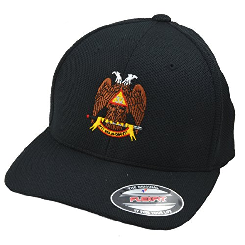 - Scottish Rite 32nd Degree Double Headed Eagle Fitted Baseball Cap - BLACK
