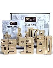 SumBlox Montessori Spielzeug - Beim Spielen Mathematik, Zahlen, 1x1 (Einmaleins) und Rechnen Lernen, Pädagogisches Material und Spielzeug, 43 Holz Bausteine in Form von Zahlenund Lernspielkarten