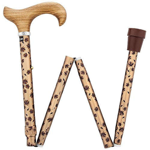 Folding Cane Zebrano Derby Handle Walking Cane with Adjustable Aluminum and Silver Collar
