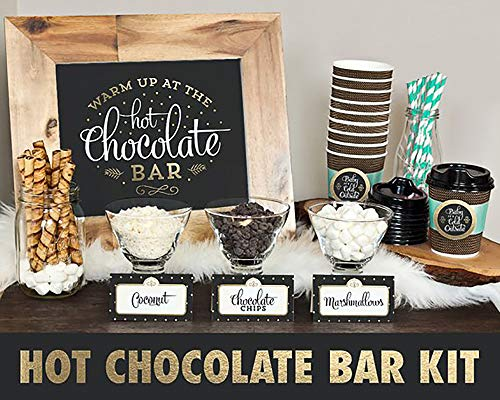 MORDUN Hot Chocolate Bar Kit -Sign Labels Cup Tags - Decorations for Christmas Party New Year's Eve Kids Birthday]()