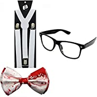 Enimay Suspender Bowtie Wayfarer Clear Glasses Nerd Costume Halloween
