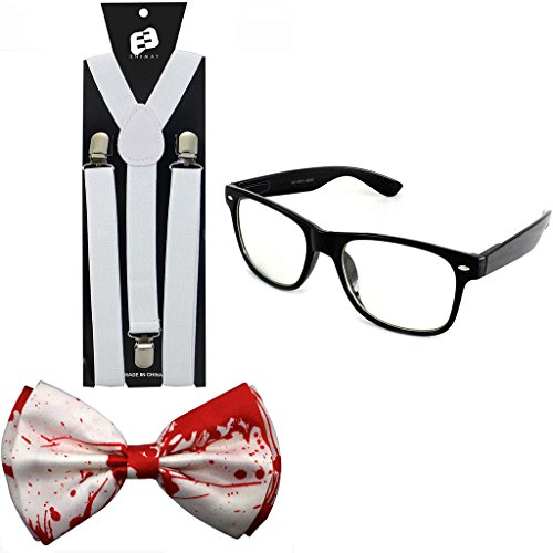 Enimay Halloween Nerd Costume Pack With Bow-Tie Suspender Clear Lens Glasses
