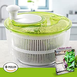Jumbo Salad Set Large Salad Spinner 5L - Easily Spin & Dry Salads & Vegetables - Perpetual Peeler and eBook included