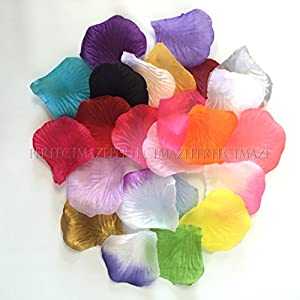 Perfectmaze Silk Rose Petals Bouquet Artificial Flower Wedding Party Aisle Decor Flower Girl Table Scatters Confetti -- 26 Colors 1000 or 5000 pcs 10