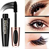 4D Silk Fiber Lash Mascara Waterproof,Long Lasting Eyelash Mascara,Silicone Brush Head,Smudge-Proof,Black