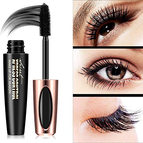 4D Silk Fiber Lash Mascara Waterproof,Long Lasting Eyelash Mascara,Silicone Brush Head,Smudge-Proof,Black (Best Mascara For Long Lashes)