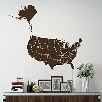 Amazon wall decals world map usa united states of america wall decals world map usa united states of america continents countries vinyl sticker home decor living gumiabroncs Images