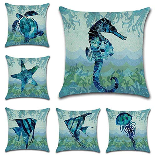 Hibedding Beach Throw Pillow Case, Ocean Sea Theme Decorative Ocean Beach Cotton Linen Coastal Cushion Cover, 18