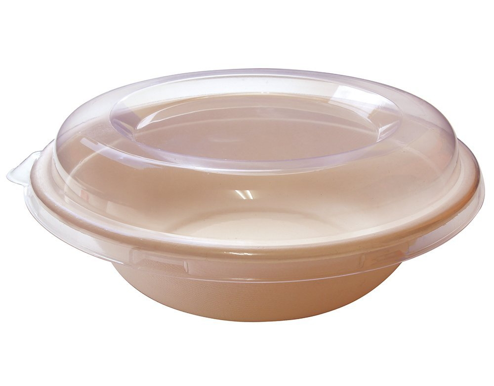 [500 SETS] 32 oz Round Disposable Bowls with Lids- Natural Sugarcane Bagasse Bamboo Fibers Sturdy Compostable Eco Friendly Environmental Paper Plastic Bowl Alternative 100% by-product Tree Free