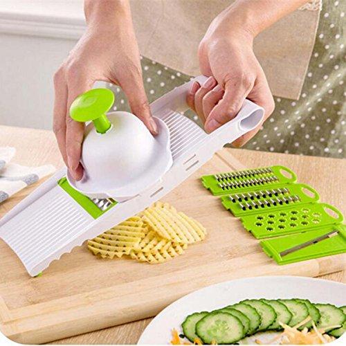 Jeslon Mandoline Slicer Cuts Fruits & Vegetables,5 Piece Interchangeable Stainless Steel Blades  Multi-function Vegetable Slicer & Grater