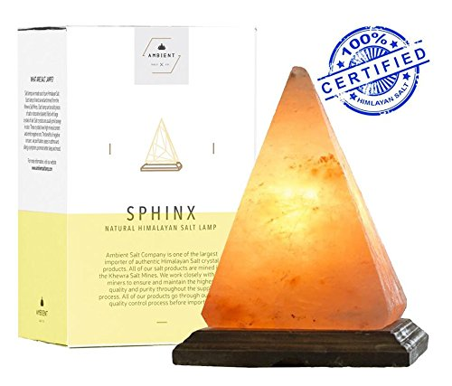 (Natural Himalayan Salt Lamp Pyramid Hand Crafted by Ambient Authentic Natural Crystal Salt Rock with UL Listed Dimmer Switch)