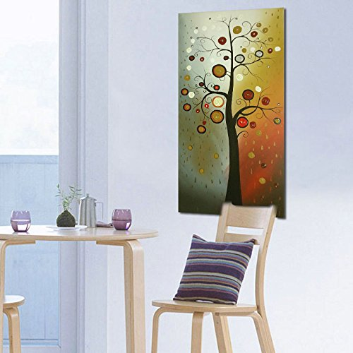 Wieco Art Life Tree Large Vertical Wall Art Modern Abstract Flowers 100% Hand Painted Floral Oil Paintings on Canvas Wall Art Work Ready to Hang for Dining Room Kitchen Home Decor XL