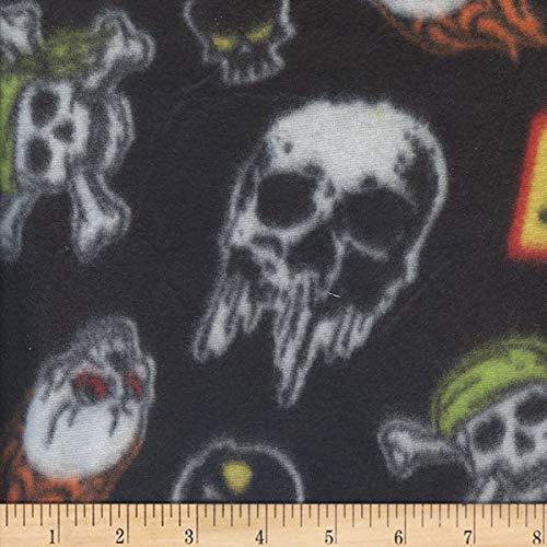 Newcastle Fabrics Polar Fleece Skulls Fabric, Black, Fabric By The Yard