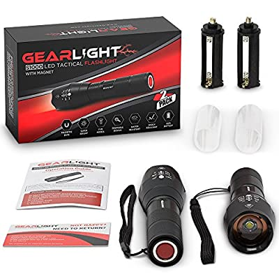 GearLight LED Tactical Flashlight S1000 with Magnet [2 PACK] - High Lumen, Zoomable, 5 Modes, Water Resistant, As Seen on TV Flashlights - Best Camping, Emergency, Magnetic Light