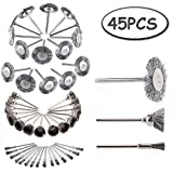Yakamoz 45pcs Steel Wheel Wire Brush Polishing Set Accessories Kit for Dremel Rotary Tool