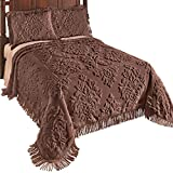 #7: Collections Etc Logan Raised Medallion Chenille Bedspread with Fringe Border