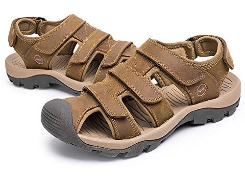 Cuero Con Sandalias Zapatos Studio SK Trekking de Marrón Velcro Punta Cerrada Claro Hombre Transpirables Grande Talla T0xqCgw