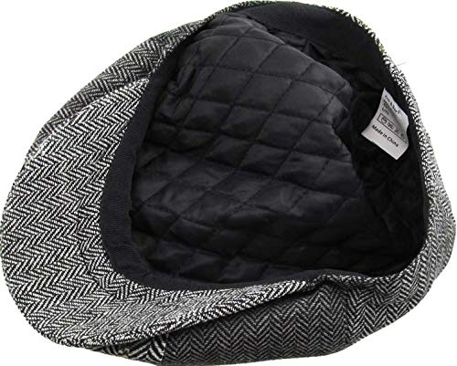 Gray Color Large//X-Large Size Hat Mens Cabbie Newsboy and Ascot Plaid Ivy Button Hat Cap 318