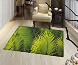 Nature Area Silky Smooth Rugs Tropical Foliage Pattern with Exotic Leaves Palm Tree Photography Hawaii Greens Door Mats for inside Non Slip Backing 20''x32'' Fern Green