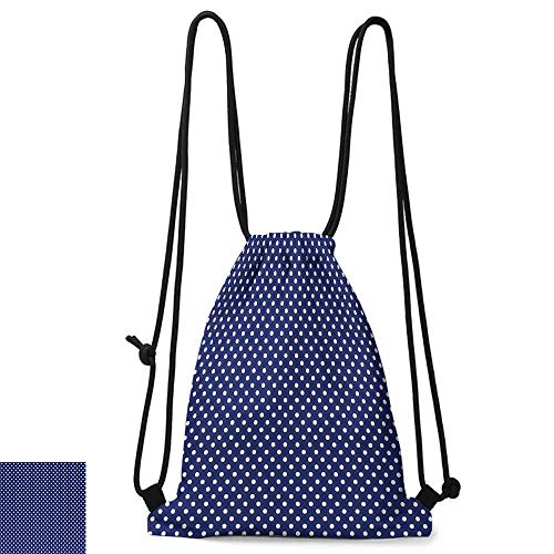 (Swimming backpack Retro Pattern with White Polka Dots on a Sailor Navy Dark Blue Background Vintage Tile W14