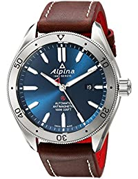 Men's Alpiner 4 Stainless Steel Automatic-self-Wind Watch with Leather Strap, Brown, 22 (Model: AL-525NS5AQ6)